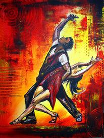 Acrylmalerei, Rot, Tanzbild tanzpaar, Modern art