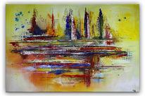 Modern, Acrylmalerei, Rot, Grau