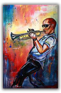 Abstrakt, Musiker, Acrylmalerei, Trompete