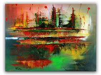 Moderne malerei, Grün, Rot, Kreis