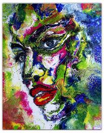 Gesicht abstrakt, Original kunstbild, Fluid painting, Moderne malerei