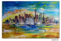 Acrylmalerei, Eiffelturm, Skyline, Stadt