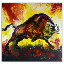 Rot, Abstrakt, Acrylmalerei, Malen