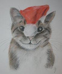 Katze, Weihnachten, Tierportrait, Pastellmalerei