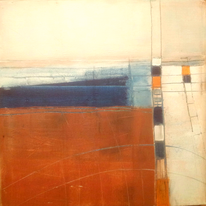 Beige, Orange, Blau, Abstrakt