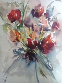 Bunt, Rot, Blumen, Aquarellmalerei