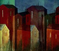 Blau, Haus, Rot, Architektur