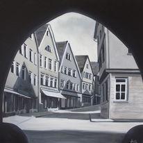Straße, Malerei, Schwarz weiß, Perspektive