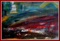 Mischtechnik, Landschaft, Auf schwarzem karton, Malerei
