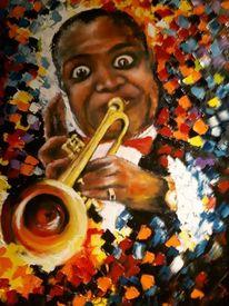 Ölmalerei, Louis armstrong, Musiker, Spachteltechnik