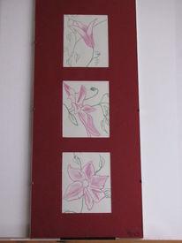 Blumen, Buntstiftzeichnung, Clematis, Aquarellmalerei