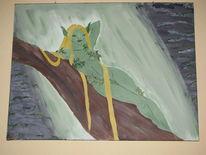 Wasserfall, Elfen, Grün, Baum