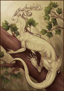Drache, Grün, Monster, Baum