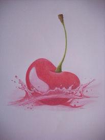 Piemont kirsche, Buntstiftzeichnung, Obst, Zeichnung