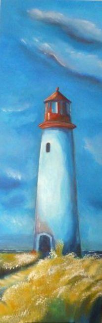 Weg, Leuchtturm, Meer, Wolken