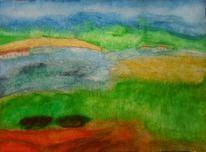 Aquarellmalerei, Wiese, Landschaft, Haus