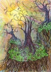 Individuum, Baum, Hügel, Sonne