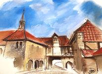 Kirche, Kloster, Pastellmalerei, Zeichnungen