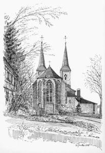 Architektur, Federzeichnung, Tusche, Kirche