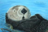 Otter, Pastellmalerei, Wasser, Tierwelt