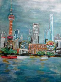 Meer, Gebäude, Shanghai, Malerei