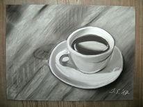 Schwarz weiß, Kaffee, Gemälde, Tasse