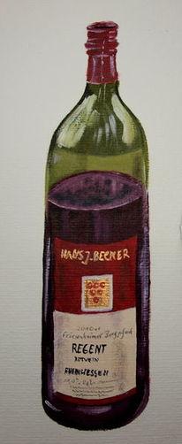 Rotweinflasche, Rotwein, Flasche, Malerei