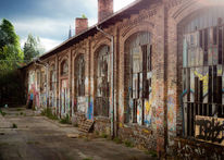 Fenster, Industrieruine, Graffiti, Glas