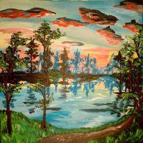 Landschaft, Abendstimmung, Malerei