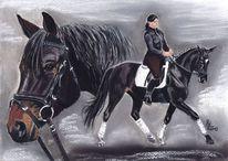 Portrait, Pferde, Pastellmalerei, Malerei