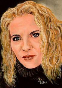 Augen, Selbstportrait, Pastellmalerei, Liebe