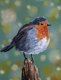 Vogel, Acrylmalerei, Rotkehlchen, Feder
