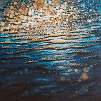 Meer, Wasseroberfläche, Blau, Acrylmalerei