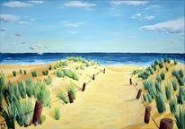 Urlaub, Strand, Dünen, Meer