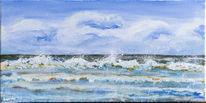 Landschaft, Welle, Malerei, Wasser