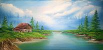 Nebel, See, Wasser, Hütte