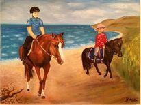 Strand, Ölmalerei, Landschaft, Pferde