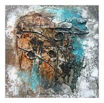 Sumpfkalk, Aquarellmalerei, Granulat, Firnis