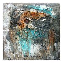 Sumpfkalk, Aquarellmalerei, Granulat, Marmormehl
