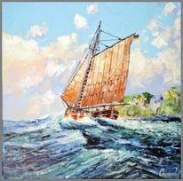 Segelschiff, Spachteltechnik, Malerei, Fischerboot