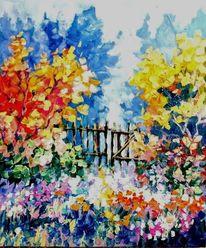 Garten, Blumenwiese, Modern, Malerei