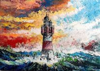 Leuchtturm, Nordsee, Modern, Malerei