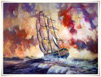 Malerei, Sonnenuntergang, Segelschiff