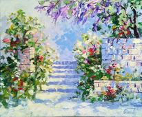 Gemälde, Treppe, Park, Sommer