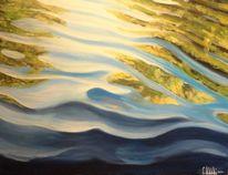 Spiegelung, See, Wasser, Malerei