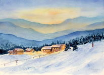 Aquarell, Winter, Alpen