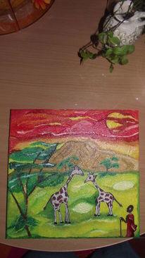 Giraffe, Afrika, Landschaft, Zeichnungen