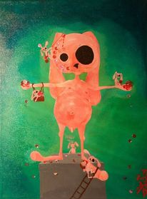 Hase, Pink, Einsamkeit, Blut