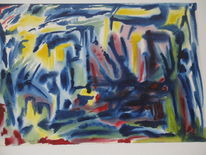 Aquarellmalerei, Paradies, Landschaft, Malerei