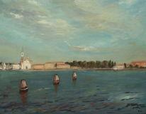 Gemälde, Venezia, Venedig, Wasser